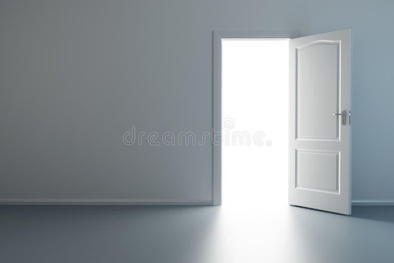 Leerer neuer Raum mit geöffneter Tür vektor abbildung