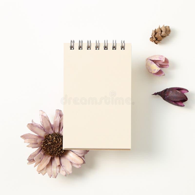 Leerer Notizblock mit trockenem Kiefernkegel, Blume lizenzfreie stockfotos