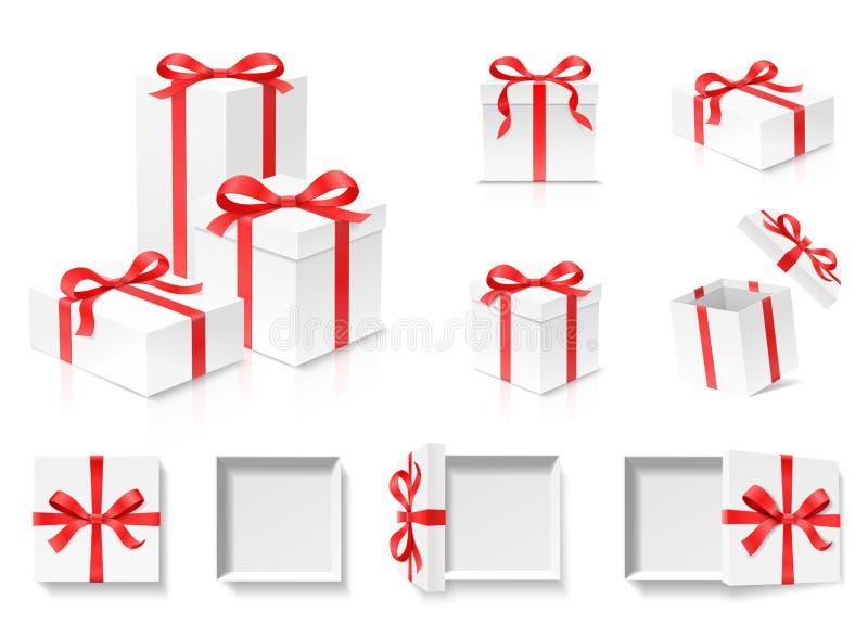 Leerer offener Geschenkboxsatz mit rote Farbbogenknoten und Band lokalisiert auf weißem Hintergrund lizenzfreie abbildung