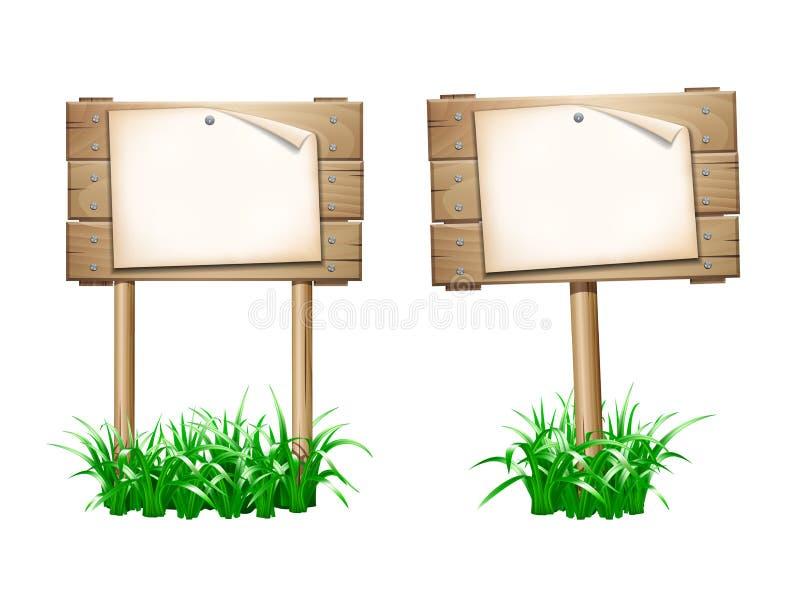 Leerer Papierfreier raum auf hölzernem Schild stock abbildung