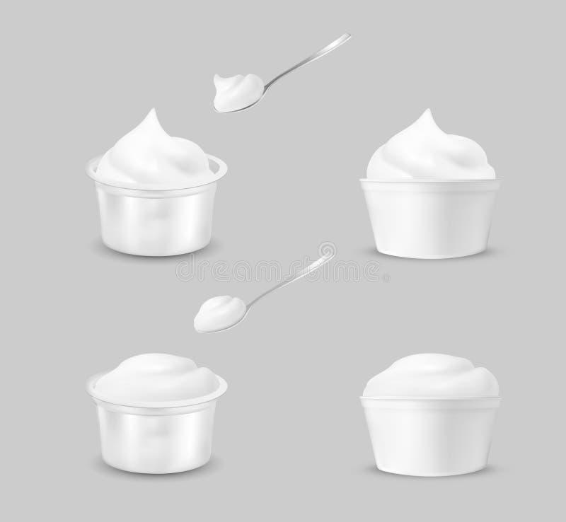 Leerer Plastikbeh?lter f?r Jogurt Open verpackend f?r Sahne vektor abbildung
