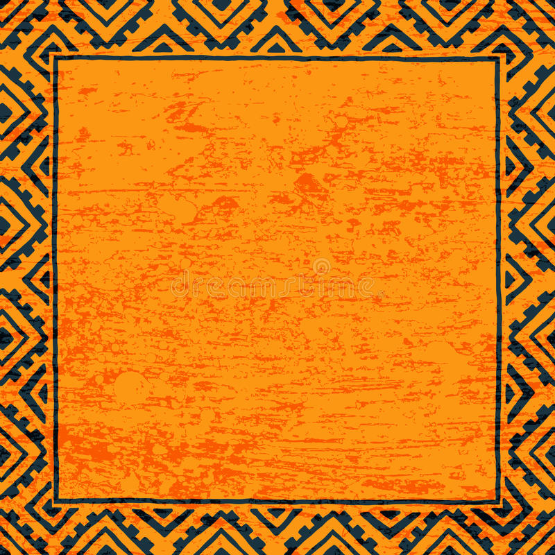 Leerer quadratischer Rahmen für Ihren Text Schwarze und orange Farbe grunge stock abbildung