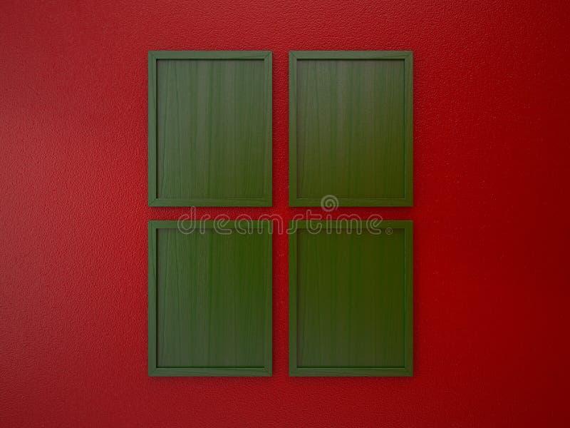 Leerer Rahmen auf roter und grüner Weihnachtstonfarbe der Innenwand lizenzfreie abbildung