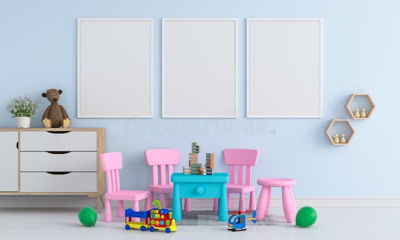 Leerer Rahmen des Fotos drei für Modell im Kinderraum, Wiedergabe 3D stock abbildung