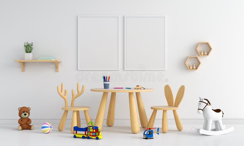Leerer Rahmen des Fotos zwei für Modell im Kinderraum, Wiedergabe 3D lizenzfreie abbildung