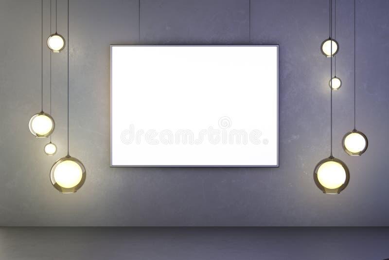 Leerer Rahmen eines Bildes mit Glühlampen auf einer Betonmauer stockfoto