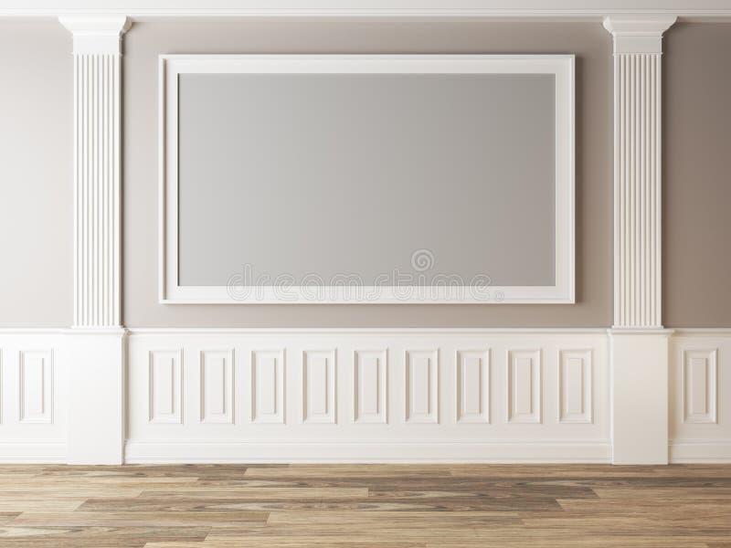 Leerer Rahmen im hellen Raum mit klassischen Spalten stock abbildung