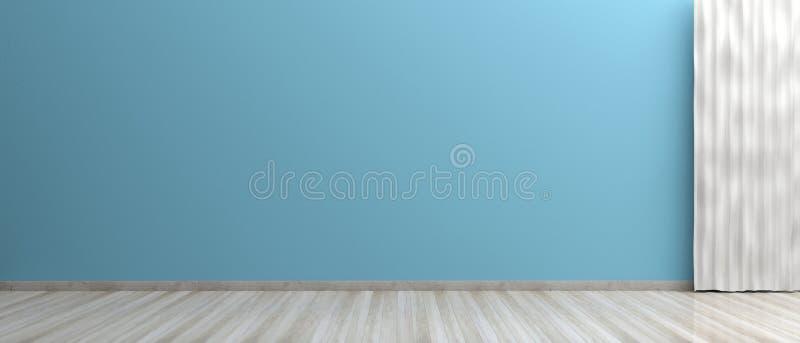 Leerer Raum, Bretterboden, blaue Farbe malte Wand und Vorhang Abbildung 3D stockfotos