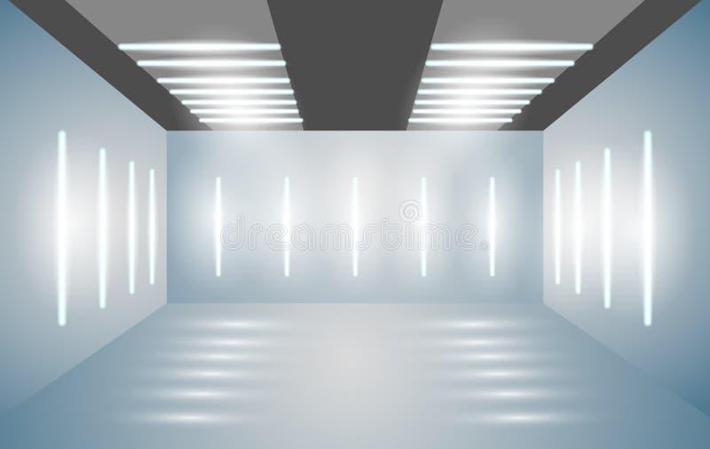 Leerer Raum 3D der Ausstellung mit heller Beleuchtung Darstellung von Autos, Motorräder, Retro-, Wertsachen Auch im corel abgehob lizenzfreie abbildung