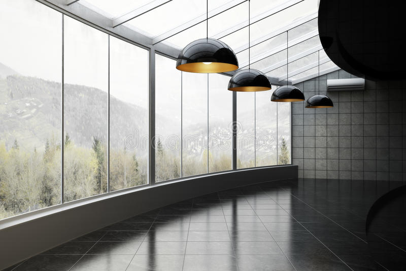 Leerer Raum mit Gebirgs- und Holzhintergrund lizenzfreies stockbild