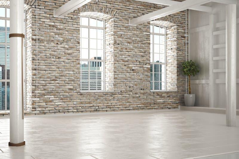 Leerer Raum des Geschäfts oder Wohnsitz mit Ziegelsteininnenraum stockbilder