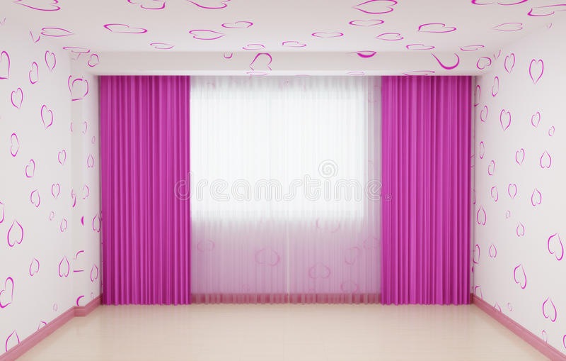Leerer Raum erneuert für Mädchen im Rosa Der Innenraum hat einen Sockel und Vorhänge im Rosa stockbilder