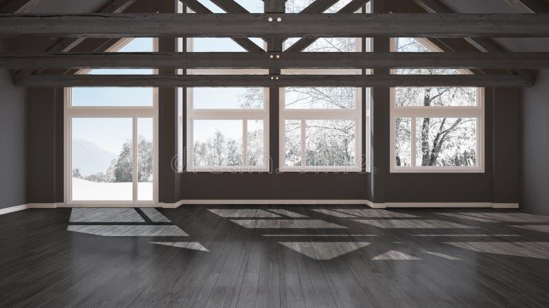 Leerer Raum im Luxusöko-haus, im Parkettboden und im hölzernen Dach tr vektor abbildung