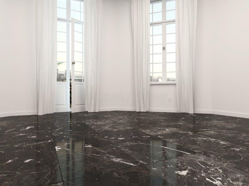 leerer raum mit einem marmorboden stock abbildung illustration von unfurnished marmor 40985926. Black Bedroom Furniture Sets. Home Design Ideas