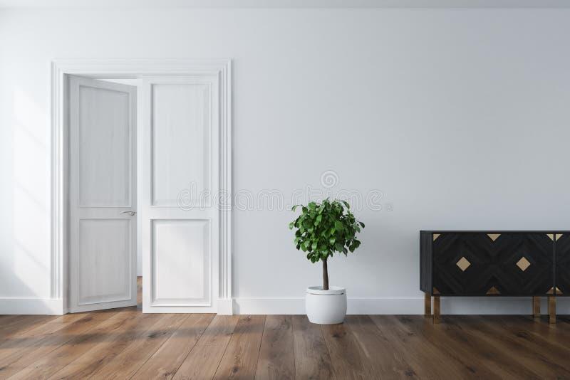 Leerer Raum mit einer offenen Tür, Wandschrank vektor abbildung
