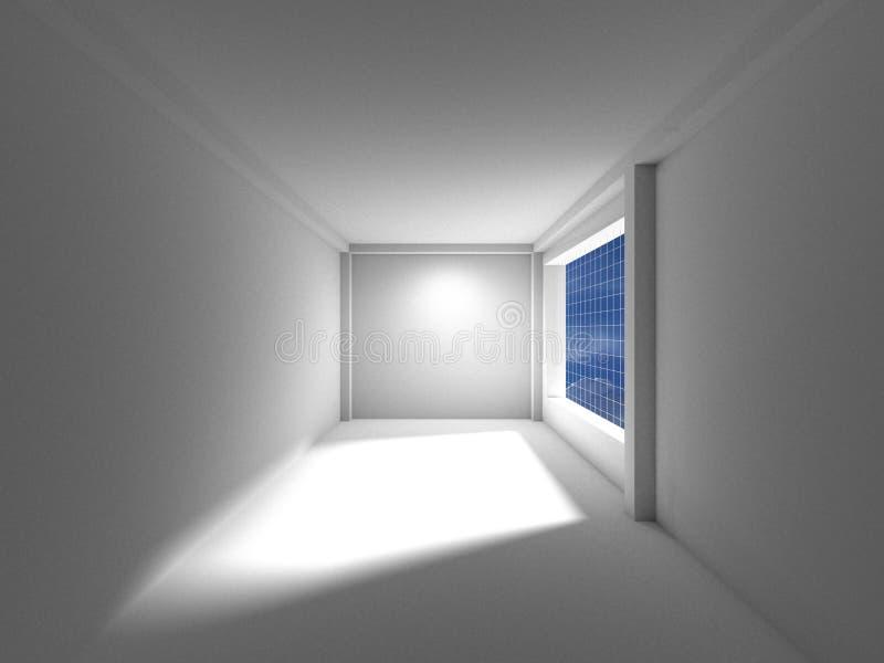 Leerer Raum mit Fensterschatten, Beschneidungspfad, Wiedergabe 3D stock abbildung
