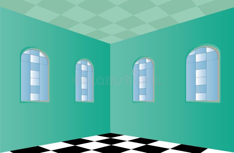 Leerer Raum mit grünen Wänden vektor abbildung