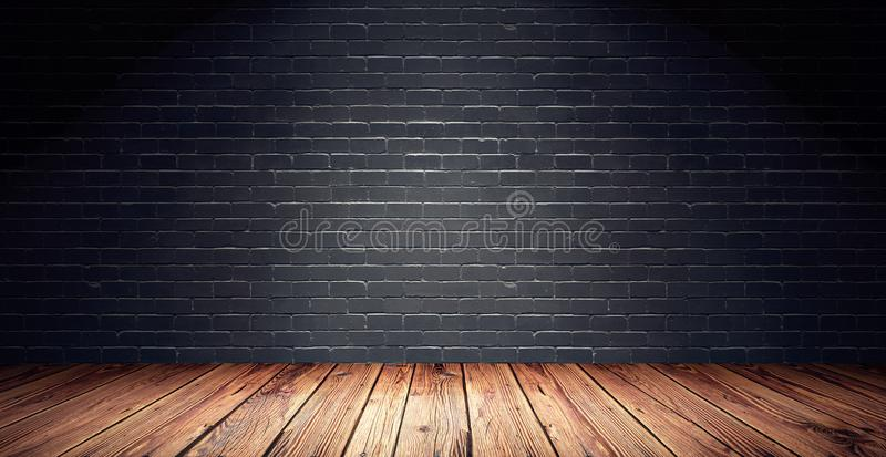 Leerer Raum mit schwarzer Backsteinmauer und Bretterboden lizenzfreie abbildung