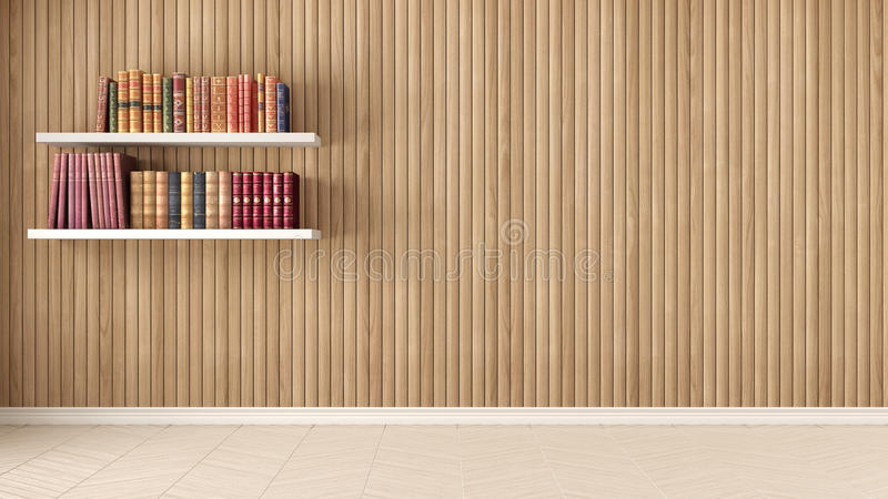 Leerer Raum, Regale mit alten Büchern, Fischgrätenmusterparkett und Holz lizenzfreie stockfotos