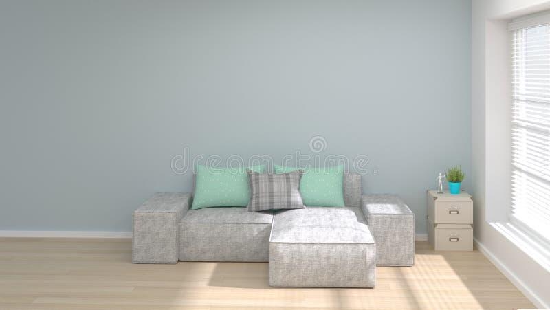Leerer Raum und minimales modernes Wohnzimmer der Innenarchitektur der Illustration des Konzeptes 3d des Sofas kopieren Raum und  vektor abbildung
