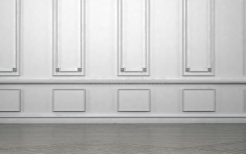 Leerer Rauminnenraum mit klassischem Wainscoting lizenzfreie abbildung
