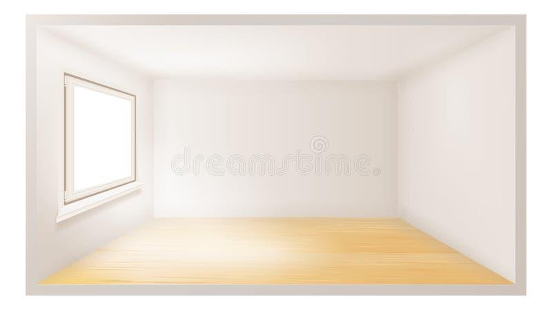 Leerer Raumvektor Weiße Wand Vektorabbildung des Fensters mit schwarzem Feld Architektur-Wohnung realistische Illustration 3d lizenzfreie abbildung