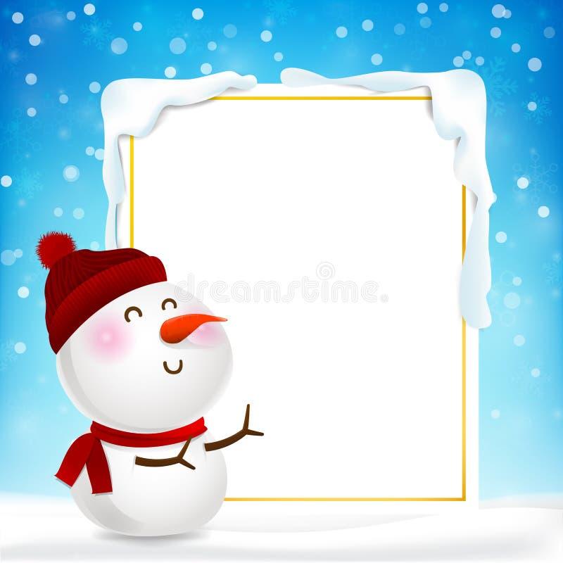 Leerer Rechteckrahmen und Schnee-MA-Karikatur stock abbildung