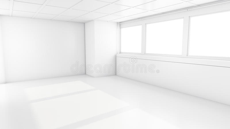 Leerer Reinraum mit Fenstern Innenraum 3D vektor abbildung