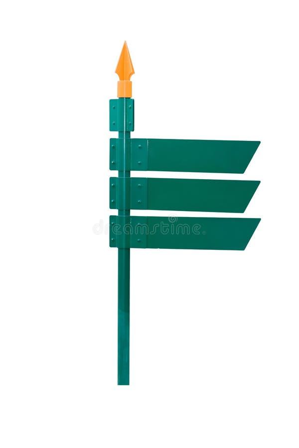 Leerer Richtungsgrünwegweiser lokalisiert auf weißem Hintergrund stockfoto