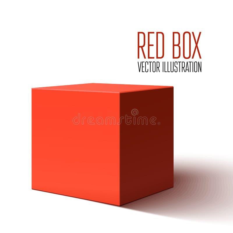 Leerer roter Kasten lokalisiert auf weißem Hintergrund lizenzfreie abbildung