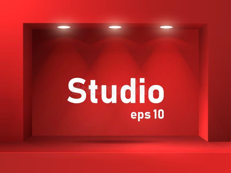 Leerer roter Studioraum mit quadratischem beleuchtetem Bogen und Nut Freier Raum für Produktdarstellung vektor abbildung