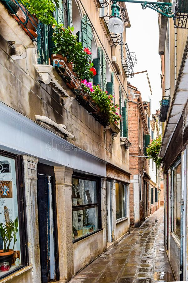 Leerer schmaler Durchgangziegelstein/Kopfsteinstraße in Venedig, Italien lizenzfreies stockbild
