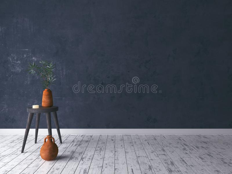 Leerer schwarzer rustikaler Raum mit altem Schemel lizenzfreies stockfoto