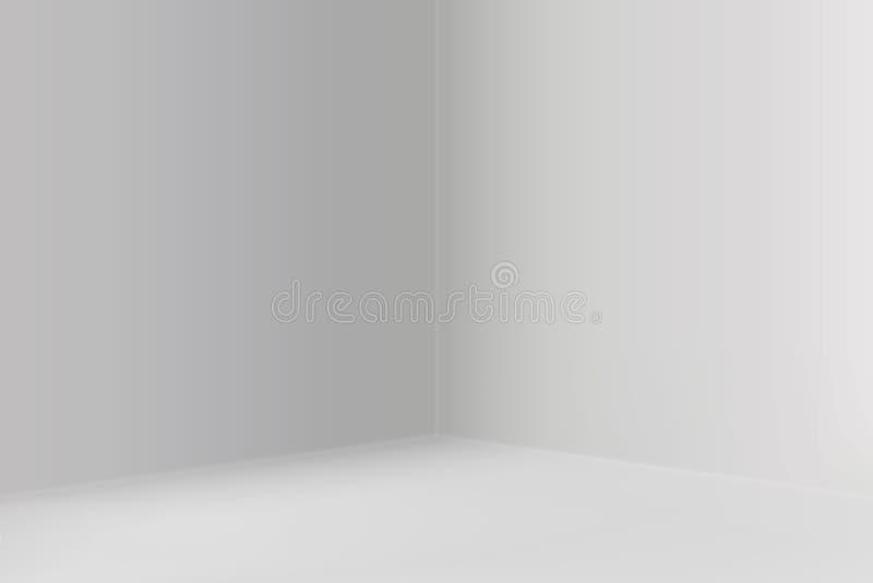 Leerer Showraum mit quadratischer Ecke lizenzfreie abbildung