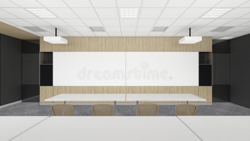 Leerer Sitzungskonferenzsaal im Büro Unternehmens mit schwarzem Badekurort lizenzfreie abbildung