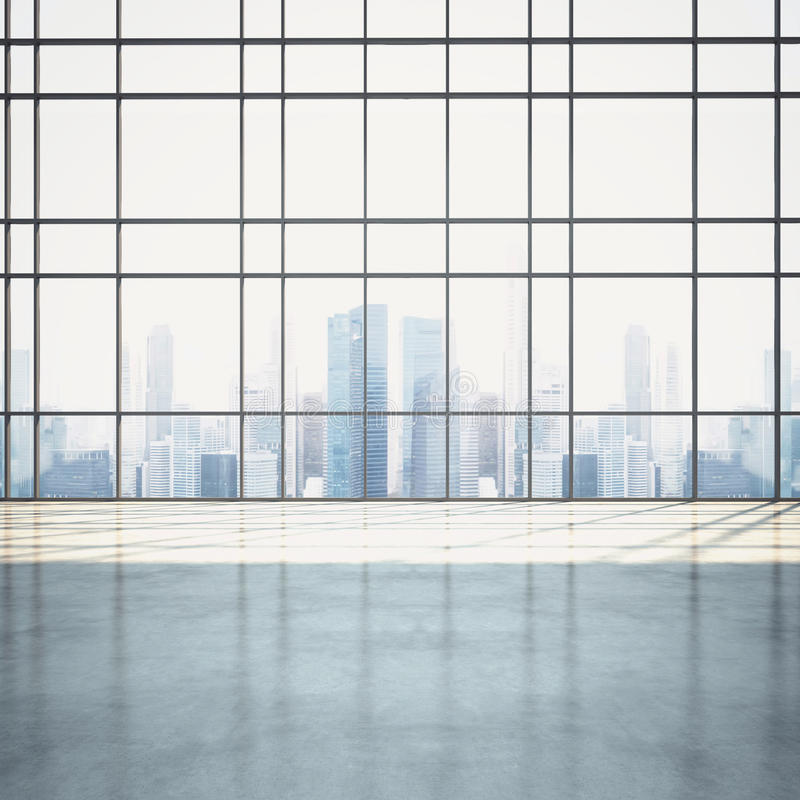Leerer sonniger Großrauminnenraum mit Stadtbild stockfotografie