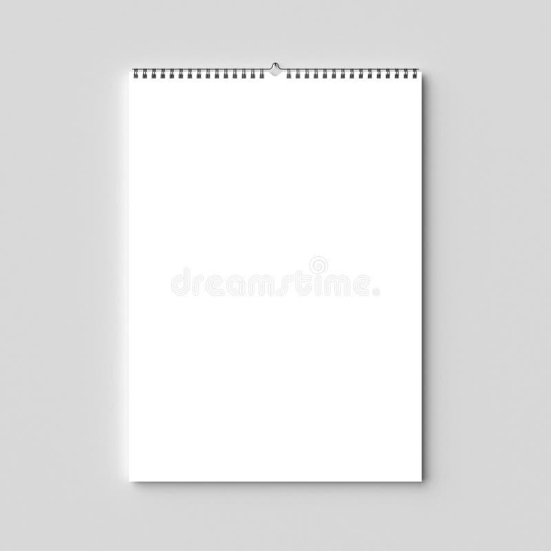 Leerer SpiralbindungsWandkalenderspott oben auf Trockenmauer illus 3d lizenzfreies stockfoto