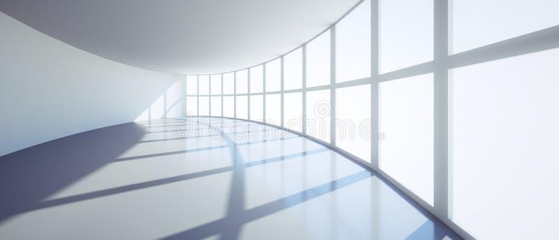 Leerer stilvoller sonniger Büroraum in einem hohen Aufstiegsgebäude stock abbildung