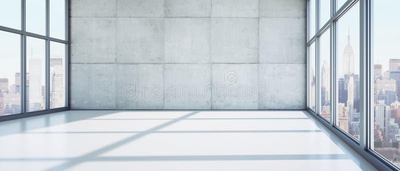 Leerer stilvoller sonniger Büroraum in einem hohen Aufstiegsgebäude vektor abbildung