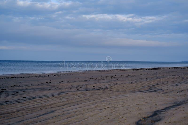 leerer Strand im Herbst mit Büschen und trockenem Gras stockbilder
