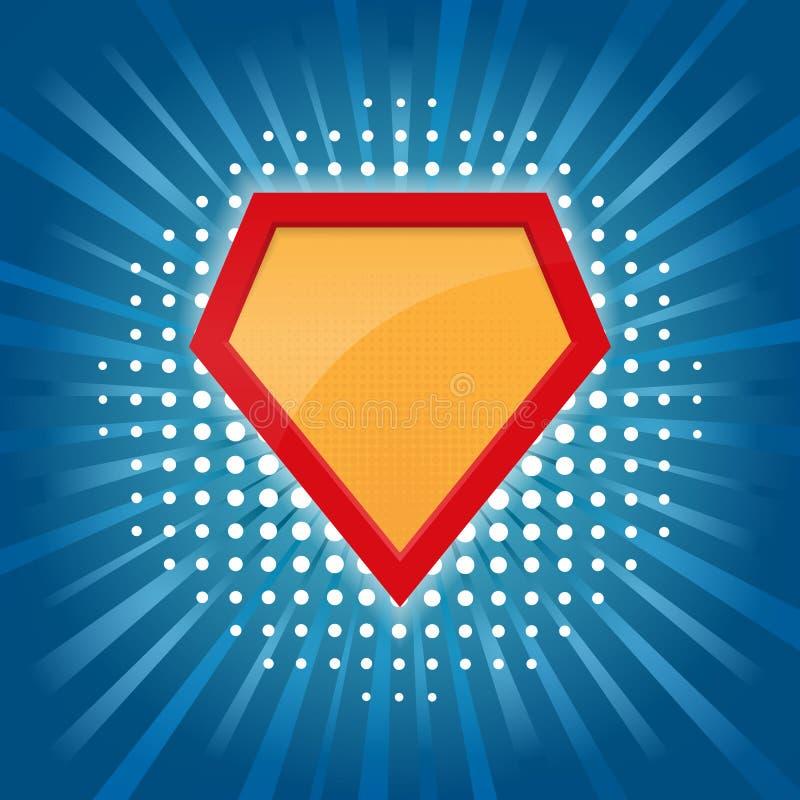 Leerer Superheld-Ausweis Superheldlogoschablone Auf blauem Hintergrund Pop-Arten-Hintergrund Auch im corel abgehobenen Betrag stock abbildung