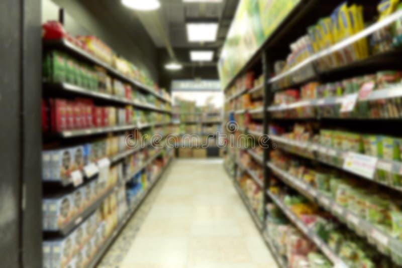 Leerer Supermarkt undeutlich für Hintergrund lizenzfreies stockbild