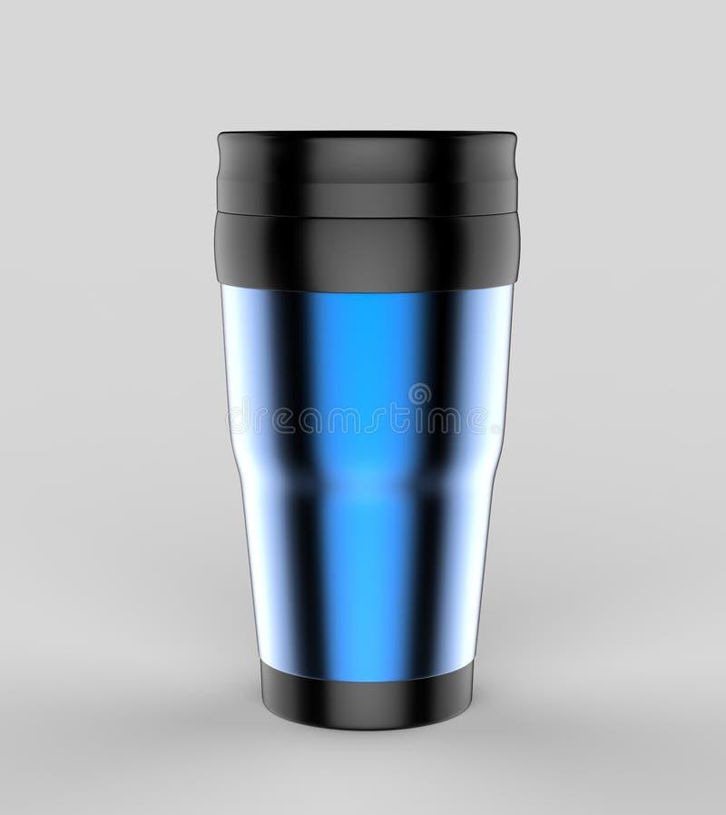 Leerer Thermosflaschereise-Trommelbecher für Designdarstellung oder Spott entwerfen oben 3d übertragen Abbildung lizenzfreie abbildung