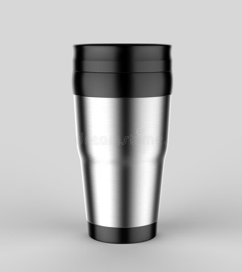 Leerer Thermosflaschereise-Trommelbecher für Designdarstellung oder Spott entwerfen oben 3d übertragen Abbildung stock abbildung