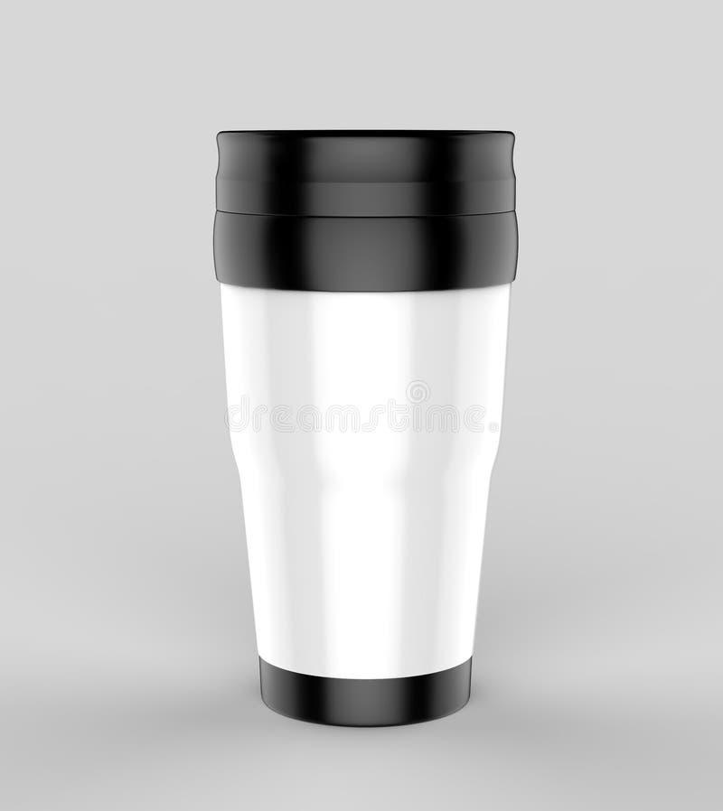 Leerer Thermosflaschereise-Trommelbecher für Designdarstellung oder Spott entwerfen oben 3d übertragen Abbildung stockbild