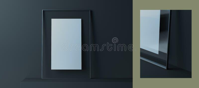 Leerer transparenter Fotorahmen mit leerem Plakat nahe dunklen Wänden, Wiedergabe 3d lizenzfreie abbildung