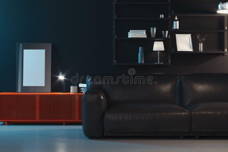 Leerer transparenter Fotorahmen mit leerem Plakat nahe schwarzer Couch, Wiedergabe 3d lizenzfreie abbildung
