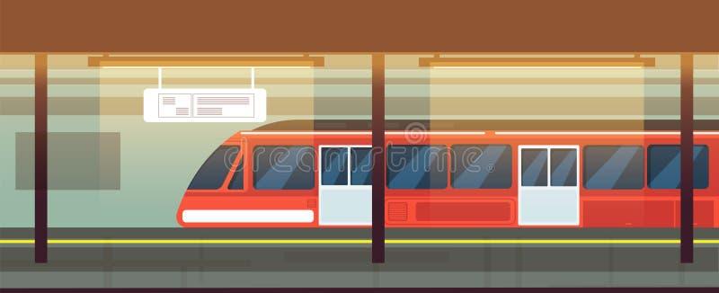 Leerer U-Bahnstations-Innenraum mit Metrozug-Vektorillustration vektor abbildung