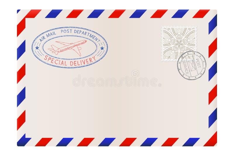 Leerer Umschlag mit Stempel und Luftpostpoststempel vektor abbildung