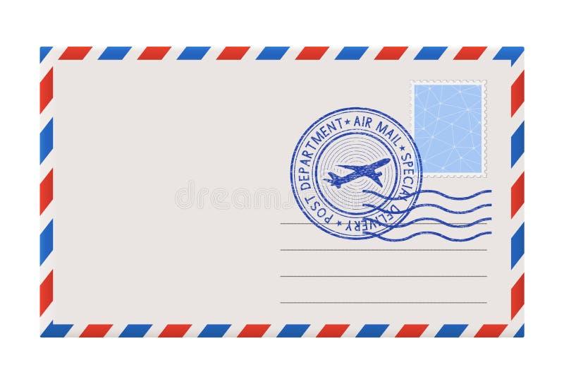 Leerer Umschlag mit Stempel und Postpoststempel stock abbildung
